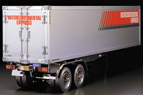 Tamiya offers a Semi-Trailer model that can be hitched-up to the 1/14 scale R/C tractor truck. The box type trailer uses hard-anodized aluminum panels for the utmost durability and realism. Rear gate doors are openable as seen on full-sized trailers.