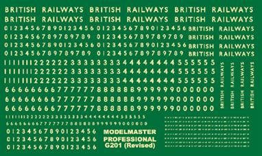 Modelmaster Decals MMG201 00 Gauge  British Railways Steam Locomotive Lettering and NumbersGeneral Purpose Steam Locomotive Numbering SetLarge selection of Numbers 0 - 9 plus 'BRITISH RAILWAYS' lettering for loco sides in three sizes.Power Class & Route Availability decals are also included. Straw colour lettering.