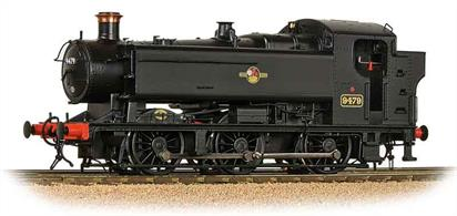 Detailed model of British Railways locomotive 9479, one of the GWRs powerful 94xx class pannier tanks built from 1947 and into the BR era. Model finished in Br black livery with later lion holding wheel crest.