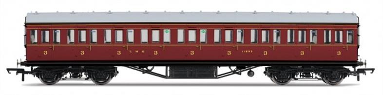 Hornby R4657 OO Gauge LMS 57ft Suburban Third Class Coach LMS Crimson LiveryDimensions - Length 242mm.A new model of the LMS standard 57-feet length non-corridor or suburban type coach, as used on suburban, stopping and branchline services. The third class coaches were among the most common types, forming the bulk of suburban and stopping trains, as fewer passengers feel the need for first class comfort on short journeys. Model finished in LMS crimson lake livery.Special Features: Handrails, Separate roof vents