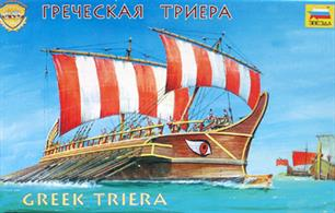 Zvezda 1/72 Greek Triera Ship 8514Triera is the main type of a battle ship of the Mediterranean period of the Greek - Persian wars . The main weapon was a copper bound ram, the speed of the ship under oars was approx 18 km/h