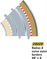 Radius 2 curve outer borders 45 degrees x 4