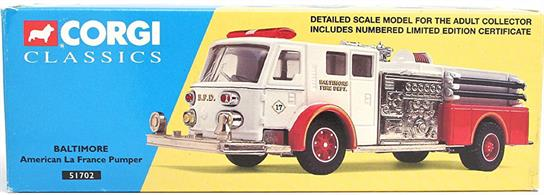 Corgi Baltimore American La France Pumper 51702Box faded at one End.