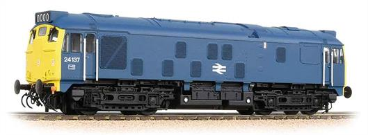 This version of the 24 has not been produced previously and provides a further visual variant of the popular and useful Derby type 2. Bachmanns models have a heavy diecast chassis and central motor drive to both bogies, with flywheels to maintain smooth running. Era 7.DCC and Sound ready, 21 pin decoder required for DCC operation, sound decoder and speaker required for sound operation. Directional lighting. Internal (cab) lighting.