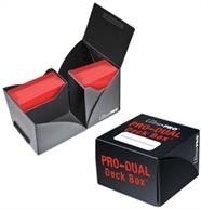 Black dual deck box for holding up to 180 standard sized gaming cards in deck protectors.