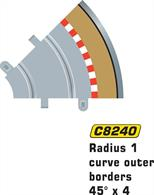 Radius 1 curve outer borders 45 degree x 4