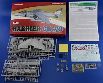 Harrier GR.7/9 in 48th scale in Limited edition. Contains Hasegawa plastic parts, decal sheet with 6 markings printed by Cartograf, resin seat and wheels, color photo-etched details, painting mask and full color instructions.Glue and paints are required