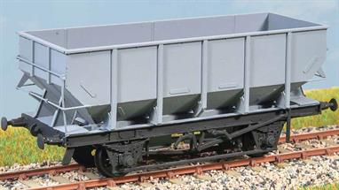 Diagram 1/146. 16,800 were built between 1952 and 1958. They were widely used for coal traffic especially in North East England. Common well into the 1980s. The kit has a choice of roller and oil axleboxes. These finely moulded plastic wagon kits come complete with pin point axle wheels and bearings