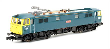 Dapol N Gauge 2D-026-004 BR 86216 Meteor Class 86 25Kv electric locomotive BR Rail BlueThis model of 86216 Meteor is to be finished in the BR corporate 'Rail Blue' livery of the 1970s and early 80s.The Dapol Class 86 features:Finely detailed body with many extra fitted items5 pole Super Creep motor with incredible controllable slow running speedAll wheel drive and pick upDirectional lightsFinely detailed and posable pantographDCC Ready with provision for a 6 pin decoderAccessory bag with optional fitted partsOrder now for delivery expected end Q3 / start Q4 2017DCC fitted version will be available,  please contact us if you would like to order the DCC fitted model