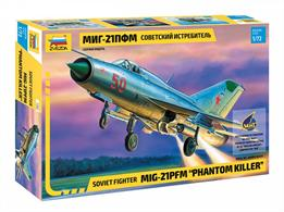 Zvezda 7202 1/72nd Mig-21 PFM Phantom Killer Fighter Aircraft KitNumber of Parts 93   Length 196mm