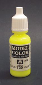 Vallejo Model Color Fluorescent Yellow Acrylic Paint 17ml  70730