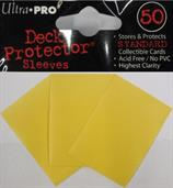 50 yellow sleeves, sized to fit MTG/Pokemon cards.