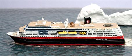 A 1/1250 scale metal model of the Hurtigruten ship Trollfjord by Albatros AL227.