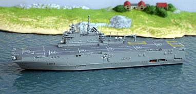 A 1/1250th scale waterline  metal model of the French landing ship Mistral. Lead ship of the Mistral class, two of which are building for Russia. Mistral and her sistership Tonnere are usually based at Toulon in the Mediterranean.Length 160mm, Width 25mm height 46mm