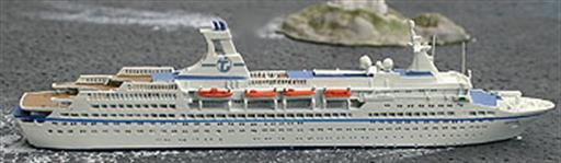 Albatros AL77N  MS Astor waterline die-cast metal of this cruise ship. 1/1250