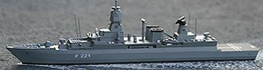 Hessen is one of Germany's latest air defence frigates, the 124-class that number just 3 ships, and built at Nordseewerke, being commisioned on 21st April 2006. With a displacement of 5690 tonnes the ships could really be classed as destroyers.
