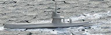 A 1/1250 scale model of a Vala class military coastal transport in dark grey livery.
