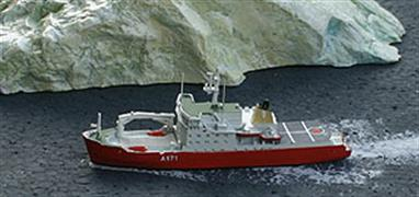 A 1/1250 scale metal model of the HMS Endurance A171 by Albatros Alk95A. This Endurance is the ice patrol ship that was first acquired in 1991 from  Norway and was the successor to the famous Falklands crisis ship. She lanquished in Portsmouth following a near sinking incident in 2008, until her final scrapping in Turkey in 2016. Her duties had been taken over by HMS Protector which is also available from Antics.