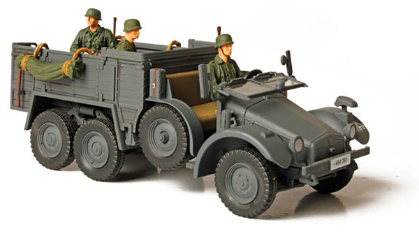 "Unimax Forces of Valor German Kfz. 70 Personnel Carrier Eastern Front 1941 Livery<p>1/32 Scale</p><p>Dimensions - Length 6.25 in Width 2.75 in Height 2.00 in</p><p>Weight - 0.32 lbs</p><p>The ""Krupp-Protze"" was a six-wheeled German truck and artillery tractor used by German forces in WW II. It was powered by a 55 hp or 60 hp (since 1936) Krupp M 304 4-cylinder petrol engine. Its main purpose was to tow artillery, and transport motorized infantry.