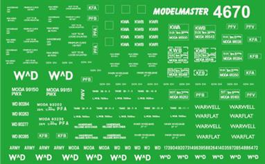 Modelmaster Decals MM4670 00 Gauge War Department Wagon Logos, Numbers & Panels 1940-1990War Department Wagon numbers & panels, suitable for 1940s to 1990s. Sheet covers wagons owned or leased by the War Deaprtament and Ministry of Defence from the 1940s WW2 era heavy-duty tank carriers to the 1990s TOPS era international service vans and container flat wagons used to supply British forces stationed in Europe.