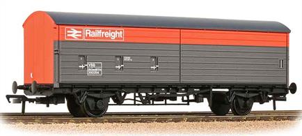Detailed model of the BR VBA long wheelbase air braked covered box van with twin half-length sliding doors to give access to the entire length of the interior for loading by fork-lift trucks. This model carries the Railfreight grey and red livery introduced in the 1980s.These long wheelbase air braked wagons were designed with greatly modernised suspension systems able to travel safely at speeds of 60mph. Higher train speeds and a network of dedicated fast freight services greatly improved BRs competitive position for wagonload freight.