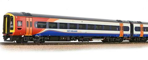 The air conditioned class 158 Sprinter trains were built to replace 1950s era locomotive hauled trains on long-distance cross-country routes.Painted in the livery of East Midlands Trains. Era 9.DCC and Sound Ready, 21 pin decoder required for DCC operation, sound decoder and speaker required for sound operation. Directional lighting. Internal lighting.