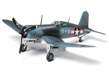 Tamiya 60774 Vought F4U-1 Bird Cage Corsair WW2 Fighter is a 1/72 scale assembly model kit.Kit represents first production model F4U-1, including intricate detailing of the frame-like cockpit canopy that earned this plane the nickname, Bird Cage. New parts depict canopy, propeller, short tail wheel and wing trailing flap without access step. High quality Cartograf decals for 4 different markings of U.S. Navy and Marine Corps planes, including aircraft from the well-known VMF-214 Black Sheep and VF-17 Jolly Rogers squadrons.Glue and paints are required