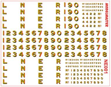 "Modelmaster Decals MMNE001 00 Gauge LNER 1923-1947 Large 12 inch Passenger Locomotive Numbering and LetteringL.N.E.R. 1923-1947 Large (12"") Passenger Loco Numbering & Lettering, with larger buffer beam numbers for Streamlined locomotives, as well as smaller ones form all other loco types. Gold shaded red, white & black."