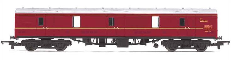 Model of the British Railways standard design 57ft length general utility van. These vans were equipped with side and end doors for loading a wide range cargo, from general parcels through express mail and newspaper traffic to motor cars as part of car-carrier MotoRail trains.Model finished as Western region allocated van W86468 in BR maroon livery.