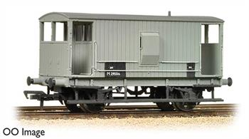 Model announced 2013.The LMS adopted the final design of Midland Railway guards' brake van as the companys' initial standard design. The cabin provided good accomodation for the guard with the handbrake standard in the centre of the van, easily and quickly accessible, and access verandhs at both ends made boarding easy.While longer than ordinary goods wagons the short brake van did not ride well at the higher speeds which goods trains were attaining in the 1930s and this design was replaced by long wheelbase vans, but with several thousand of these brake vans in service many remained in us into the 1960s.This model is painted in the early BR goods grey livery.Eras 4-5 1948-1966