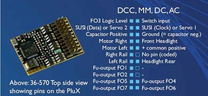 Bachmann Plux22 decoder with 1.2A continuous 2.5A peak motor power rating, 9 function outputs and 2 servo outputs.