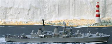 A 1/1250 scale model of HMS Bristol. A metal casting, assembled and painted waterline model of a Falklands veteran, still afloat today.Designed to escort the cancelled CAV-01 Fleet Carriers, Bristol was the only ship of her class to be completed. CAV-01 is available from Antics as a Mountford model.