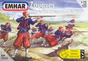 Emhar 1/72 Zouaves Crimean War 1854-56 Plastic Figure Set EM7212France was Britain's ally in the Crimean War and so deployed its Zouave troops - light infantry originating from the French North African territories. A Zouave characteristic was colourful and flambuoyant uniforms. Box contains 50 unpainted figures in 14 different poses.