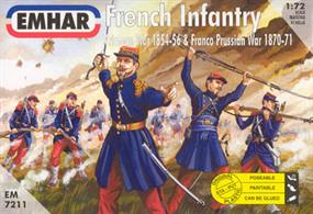 Emhar 1/72 French Infantry Crimean War 1854-56 Plastic Figures EM7211Box contains 50 unpainted figures in 14 different poses.