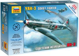 Zvezda 7301 1/72nd Russian YAK-3 Soviet Fighter Aircraft KitNumber of Parts 46   Length 118mm
