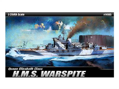 Academy 1/350 HMS Warspite WW2 Royal Navy Battleship Kit 14105Glue and paints are required