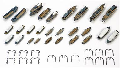 Tamiya 1/350 IJN Utility Boat Set 78026The set includes 28 ships of 11 different types. The set also includes photo-etched parts which depict deck mounts in a realistic way for the boats. The set can be used with the new 1/350 Yamato kit as well as other 1/350 scale WWII Japanese Navy ship models.