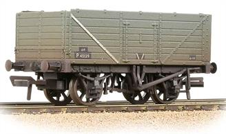 A good model of the standard type of 7-plank open wagons used by Britains railways. This model represents a wagon, with end, side and bottom doors, painted in BR grey livery with black patches to provide a good background for lettering and chalk messages.