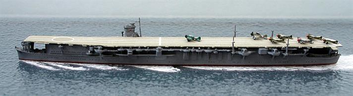 A 1/1250 scale second-hand model of IJNS Soryu in 1941 by Navis Neptun 1215. This model is in very good original condition and has aircraft on deck, see photograph.The Japanese Carriers were worked hard in the first few months of the war and Soryu would have looked much the same in the attack on Pearl Harbour as she is modelled here.