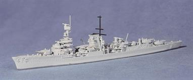 A 1/1250 scale second hand model of Leipzig by Navis Neptun 1041. The model is in excellent condition and only differs from new in that the shade of grey paint is slightly lighter than today's factory finish.Almost all the light cruisers were badly damaged during the Invasion of Norway and Leipzig was no exception. She never returned to front line duties, her torpedo tubes were put on Tirpitz and a boiler room was permanently out of commision. She became a school ship, static after being rammed by Prinz Eugen in the Baltic.