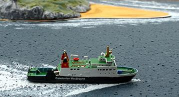 "A 1/1250 scale model of Calmac ferry Bute by Rhenania Junior RJ74.It's not often that we get a small British ferry but here is a real little gem and a modern one too! Not often available and produced in very small quantities. Just 2 1/4"" in length!"