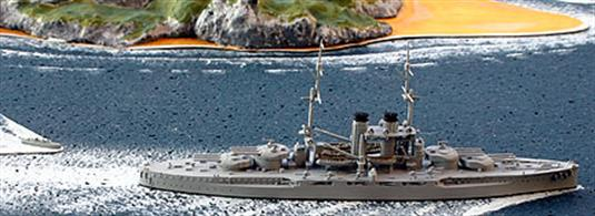A 1/1250 scale model of Szent Istvan in 1917 by Navis Neptun 702N.Szent Istvan was sunk by the Italian torpedo boat, MAS 15 of Premuda Island in 1918. The spectacular capsize was filmed and is still shown today when documentary fim makers wish to show battleships sinking. The upturned hull model is available as a Coastlines model from Antics.