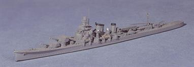 "A 1/1250 scale secondhand model of Furutaka a Japanese heavy cruiser with 6 x 8"" guns. Originally built with guns in single mounts, Furutaka was re-built before WW2 with guns in three twin turrets as modelled here.This secondhand model is in excellent condition but has had the gun turrets glued into position fore and aft."