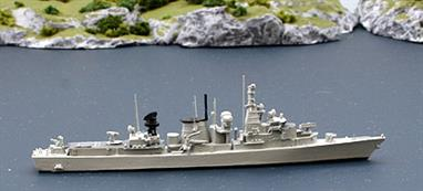 "Completed in 1986, the model shows the ship in her 1999 configuration. The Rhenania ""Dutch Navy Set"" contains contemporary minor warships to complete the fleet!"