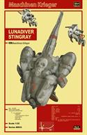 Sci-fi fanatics will flip for the 1/35 Scale Lunadiver Stingray – it recreates every detail of the famous Kow Yokoyama spacecraft! It's constructed of highly detailed, injection-molded plastic and includes two battle-powered suits, two Stingray pilot figures and a display stand.		Skill Level 3		169 pieces		Length: 11.9 in (303 mm)		Width: 6.4 in (163 mm)