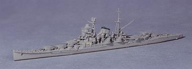 "Built as a large Light Cruiser with 15x6"" guns, the Mogami class Cruisers were modified to carry 10x8"" guns, as modelled here. Mikuma and Mogami were similar to this model in 1942 at the Battle of Midway. Mikuma was sunk but Mogami was re-built as a seaplane carrying cruiser (see Neptun 1231)."