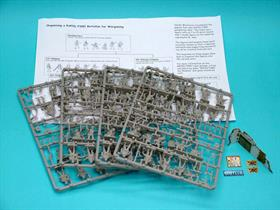 Valiant 1/72 German Infantry WWII 68 Unpainted Plastic Figures VM0024 x sprues with 68 figures plus heavy weapons, head and arm options and various ancillaries. Cut-out ruined building and street signs. A5 booklet of instructions, historical information and organisation chart