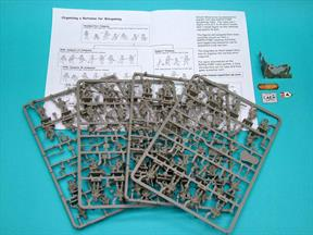 4 x sprues with 68 figures plus heavy weapons, head and arm options and various ancillaries. Cut-out ruined building and street signs. A5 booklet of instructions, historical information and organisation chart
