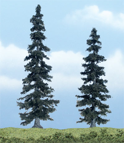 Woodland Scenics Spruce Premium Trees 4 - 5in Pack of 2 TR1621<br>Woodland Scenics premium trees are carefully sculpted to replicate the distictive features of each tree. The model tree is identifiable by trunk, branch and foliage. Ideal for foreground and feature locations.<br>These evergreen conifers are grown in beautifully landscaped yards and thrive in most climates. Models are 4 and 5 in tall (100 & 125mm).