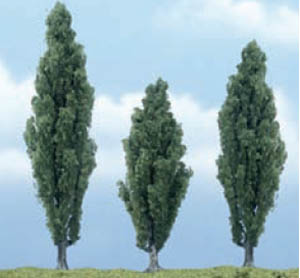 Woodland Scenics Poplar Premium Trees 3 1/2 - 4 1/2in Pack of 3 TR1611<BR>Woodland Scenics premium trees are carefully sculpted to replicate the distictive features of each tree. The model tree is identifiable by trunk, branch and foliage. Ideal for foreground and feature locations.<BR>A tall, fast-growing, deciduous tree that is planted side-by-side, primarily for privacy along fencerows.<BR>One each at 4¾, 4¼ and 3½in (120, 105 and 90mm) tall.